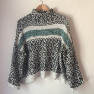 A.n.a teal cream mock turtleneck cozy sweater S